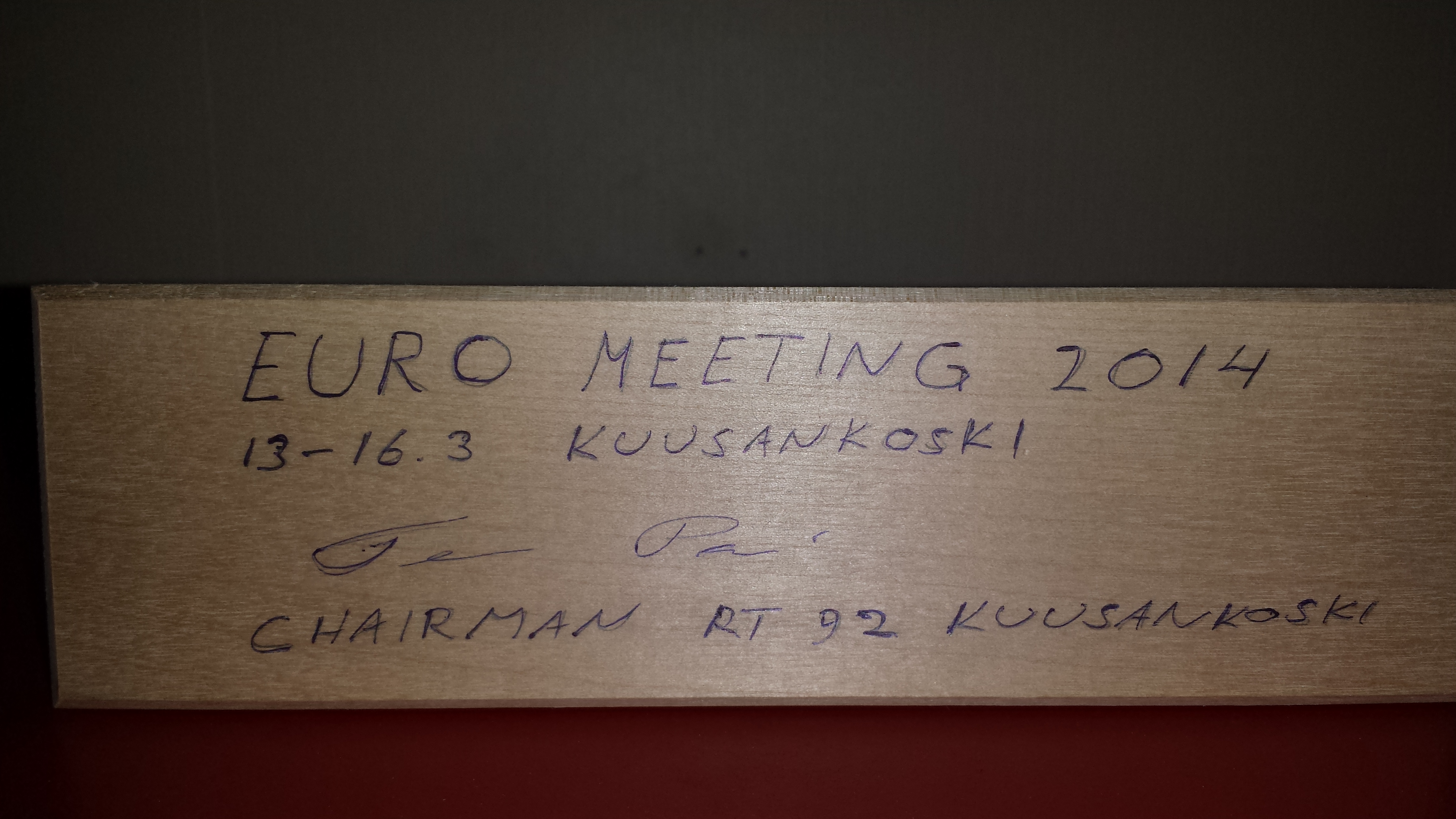 A present from our brother table in Kuusankoski Finland, when hosting Euromeeting 92 in 2014